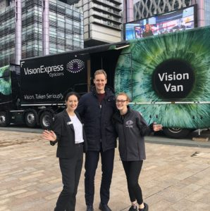 BBCs Dan Walker takes part in safe driver campaign at the Vision Van